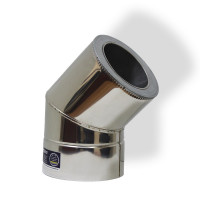 Отвод 45° для дымохода ø 130/200 н/н 1 мм