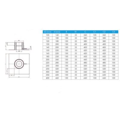 Підставка для підлоги для димоходу ø 300/360 н / н 0,6 мм